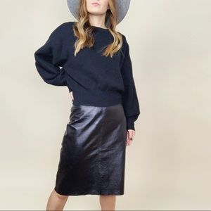 BCBGMaxAzria 100% Leather Midi Skirt